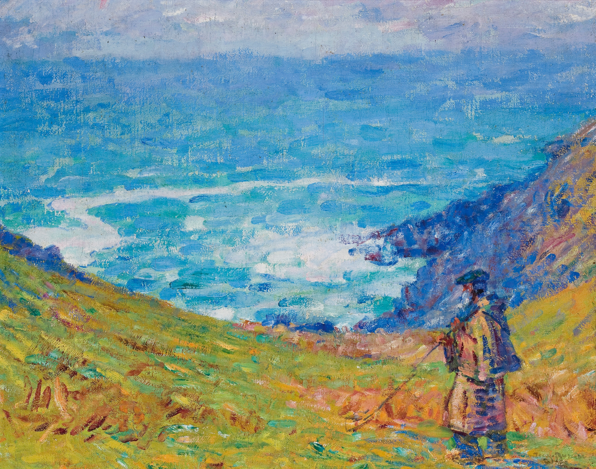 John Peter Russell Pecheur Sur Falaise Oil on Canvas 61 x 71 cm