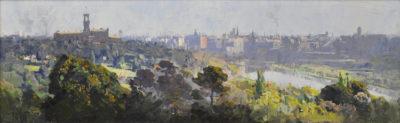 Arthur Streeton Melbourne City Skyline Oil on panel 20 x 66cm