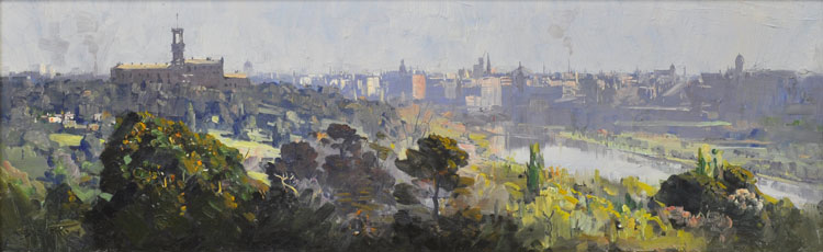 Arthur Streeton Melbourne City Skyline Oil on panel 20 x 66cm